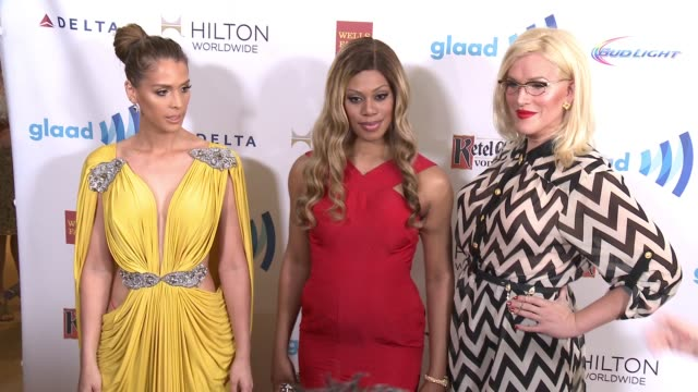 Carmen Carrera Our Lady J and Laverne Cox at the 25th Annual GLAAD Media Awards at The Beverly Hilton Hotel on April 12 2014 in Beverly Hills...