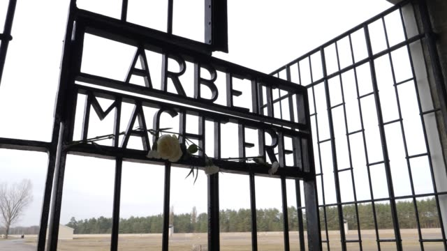 """carnations and roses hang at the infamous entrance gate that reads: """"arbeit macht frei"""", or """"work sets one free"""" at the sachsenhausen concentration... - infamous stock videos & royalty-free footage"""