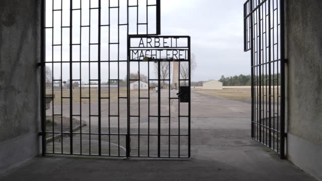 carnations and roses hang at the infamous entrance gate that reads arbeit macht frei or work sets one free at the sachsenhausen concentration camp... - prison camp stock videos & royalty-free footage