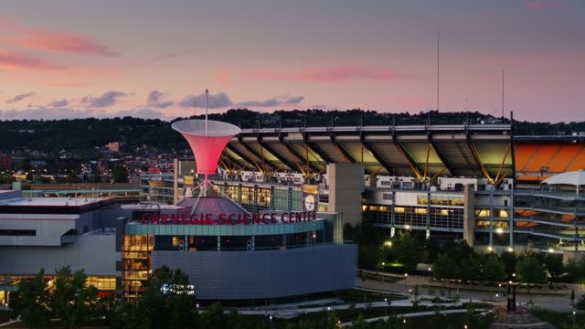 carnegie science center and heinz field - drone shot - pennsylvania stock videos & royalty-free footage