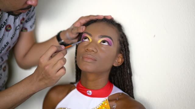 make-up artistico carnevale - human face video stock e b–roll