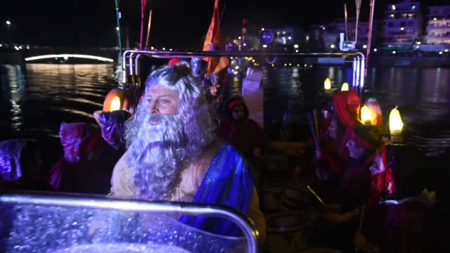 carnival celebration in chalkida on february 26 2017 topic of the second carnival by sea was the clash of the titans of greek mythology zeus and... - greek mythology stock videos and b-roll footage