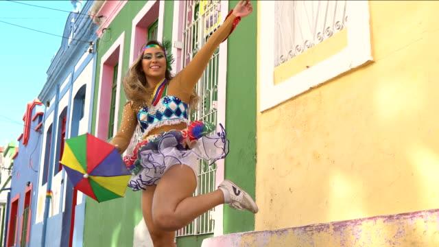 carnival in olinda - costume video stock e b–roll
