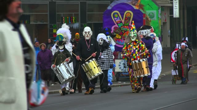 carnival of basel (basler fasnacht), basel, canton of basel city, switzerland, europe - fasching stock-videos und b-roll-filmmaterial