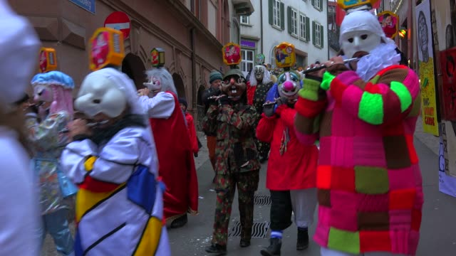 carnival of basel (basler fasnacht), basel, canton of basel city, switzerland, europe - traditional clothing stock videos & royalty-free footage