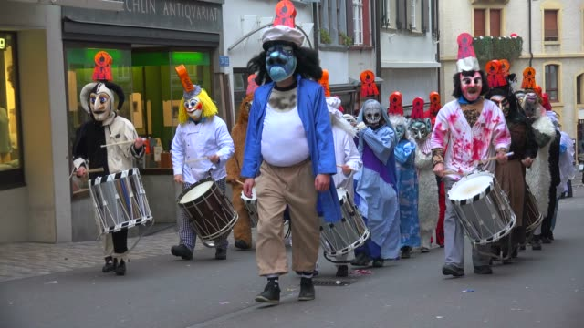 carnival of basel (basler fasnacht), basel, canton of basel city, switzerland, europe - tarnung stock-videos und b-roll-filmmaterial
