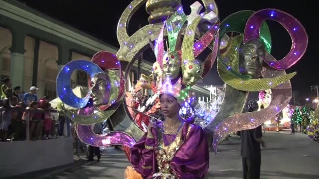 a carnival saturday night celebrated the 500th anniversary of the founding of santiago de cuba ahead of festivities sunday that also commemorate the... - santiago de cuba stock videos and b-roll footage