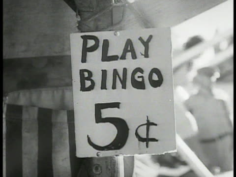 stockvideo's en b-roll-footage met carnival w/ ferris wheel people people playing bingo sign bingo 5 cents sign mastic tourist camp car pulling trailer into camp grounds outdoor picnic... - bingo