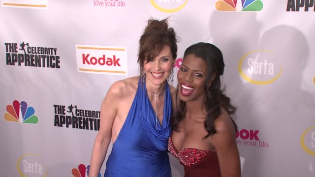 carol alt and omarosa manigault stallworth at the finale of 'the celebrity apprentice' at rockefeller center in new york new york on march 27 2008 - omarosa manigault newman stock videos & royalty-free footage