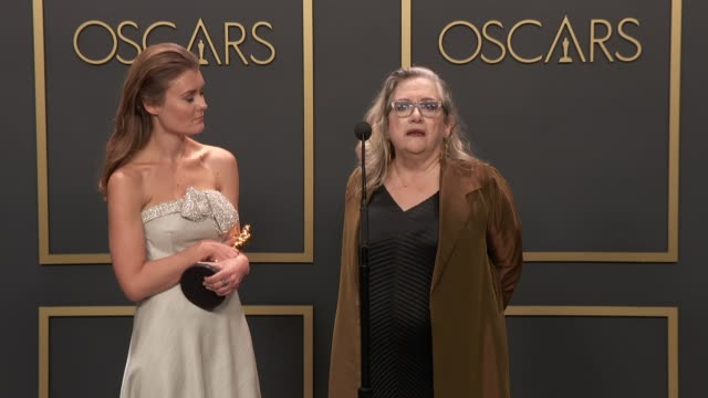 speech carol dysinger and elena andreicheva of learning to skateboard in a warzone at the 92nd annual academy awards press room at dolby theatre on... - the dolby theatre stock videos & royalty-free footage