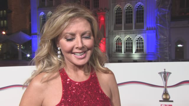 stockvideo's en b-roll-footage met interview carol vorderman on the importance of the awards flying around the world in 2017 getting over im a celebrity get me out of here at the sun... - carol vorderman
