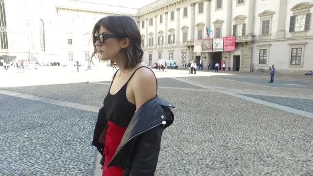 Carola Pojer wearing JW Anderson skirt Ganni jacket Zara top Gucci bag Balenciaga shoes and Céline sunglasses is seen during Milan Fashion Week...