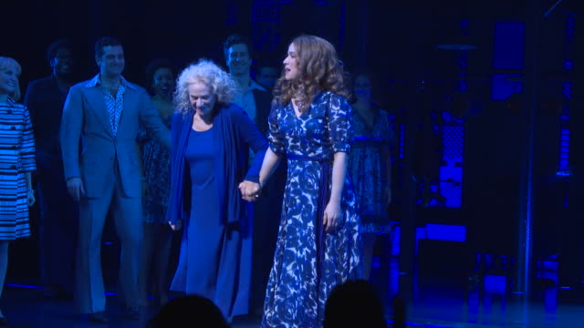 carole king and chilina kennedy during curtain call at carole king surprises broadway audience as beautiful celebrates fifth anniversary at stephen... - broadway stock videos & royalty-free footage
