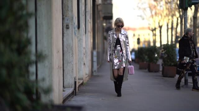 caroline daur is seen outside dolce & gabbana, during milan menswear fashion week fall/winter 2018/19 on january 13, 2018 in milan, italy . - dolce & gabbana stock videos & royalty-free footage