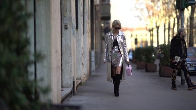 Caroline Daur is seen outside Dolce Gabbana during Milan Menswear Fashion week Fall/Winter 2018/19 on January 13 2018 in Milan Italy