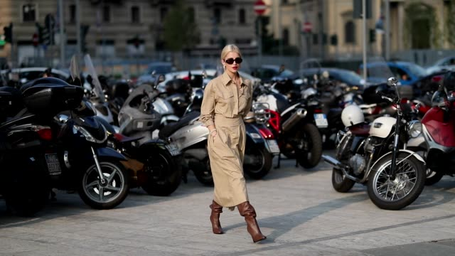 caroline daur wearing beige trench coat, brown boots is seen outside alberta ferretti during milan fashion week spring/summer 2019 on september 19,... - street style stock videos & royalty-free footage