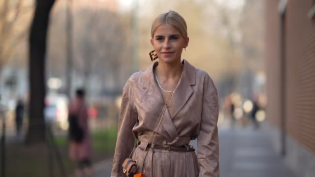 caroline daur wears a damask outfit jacket flare pants fendi mini belt bags a belt white shoes sunglasses fendi logo earrings outside fendi during... - bag stock videos & royalty-free footage