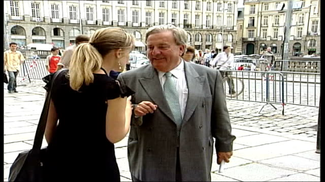 montes friend gives evidence itn france rennes ext jeanmichel masson chatting to press outside court and interview sot he is pervert / they love... - rennes frankreich stock-videos und b-roll-filmmaterial