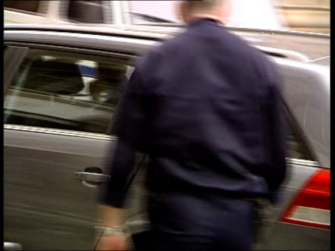 montes trial itn france rennes ext car carrying john dickinson arriving at court police van carrying francisco montes along to court - rennes frankreich stock-videos und b-roll-filmmaterial
