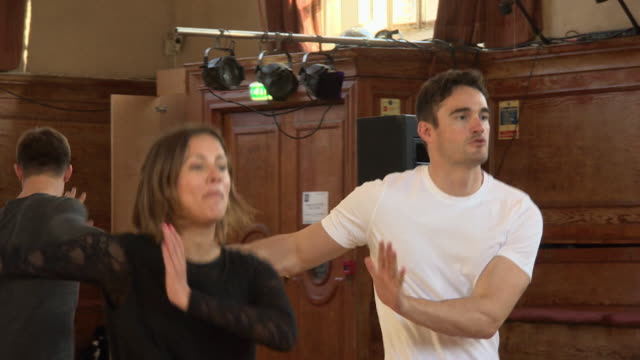 caroline flack, 2014 strictly come dancing champion, dancing in rehearsals for the 2015 strictly tour - ストリクトリーカムダンシング点の映像素材/bロール