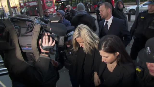 caroline flack arriving at highbury corner magistrates court where she was charged with assault on her boyfriend lewis burton, surrounded by press - boyfriend stock videos & royalty-free footage