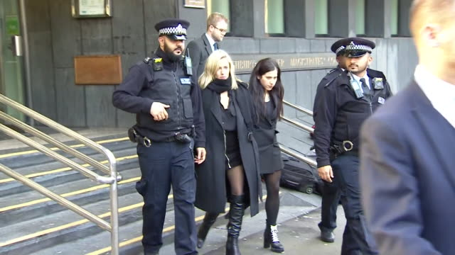 caroline flack leaving highbury corner magistrates court where she was charged with assault on her boyfriend lewis burton, surrounded by press - boyfriend stock videos & royalty-free footage