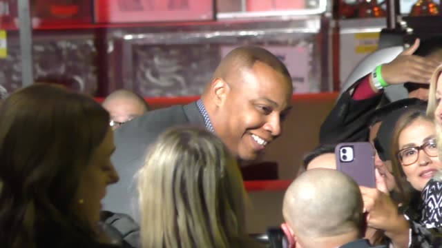 caron butler greets fans outside the premiere of spenser confidential at westwood village theatre in westwood in celebrity sightings in los angeles - westwood neighborhood los angeles stock videos & royalty-free footage