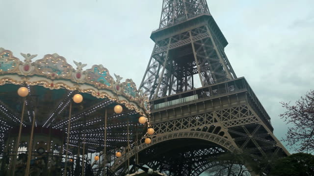 carousel and tour eiffel in paris - unfashionable stock videos & royalty-free footage