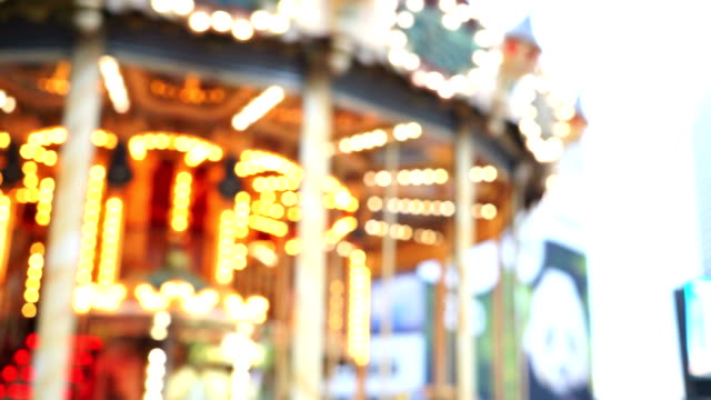 carousel, circus and amusement park, paris france - fiesta background stock videos & royalty-free footage