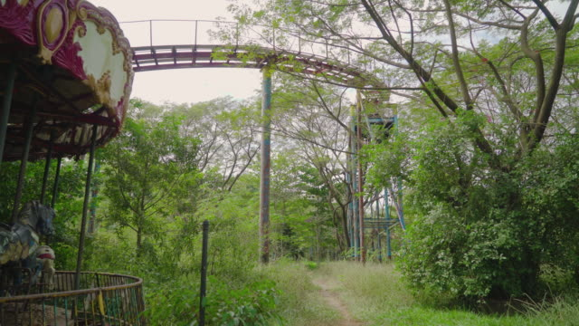 carousel with view of roller coaster in an abandoned theme park - abbandonato video stock e b–roll