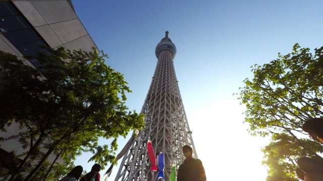 carp streamers of boy's festival at skytree t/l - low angle view stock-videos und b-roll-filmmaterial