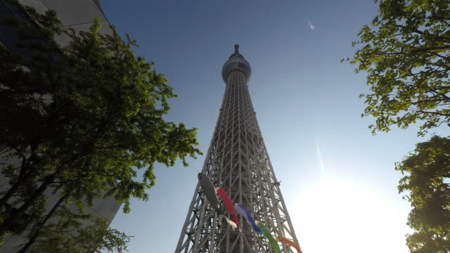 carp streamers of boy's festival at skytree - low angle view stock-videos und b-roll-filmmaterial
