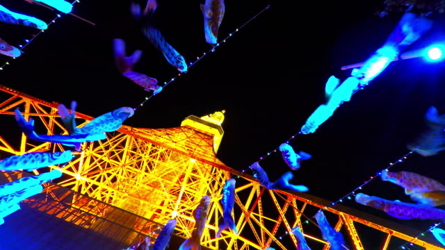 carp streamers of boy's festival tokyo tower t/l - tradition stock videos & royalty-free footage