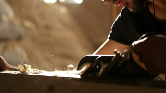carpenter at work - sawdust stock videos and b-roll footage