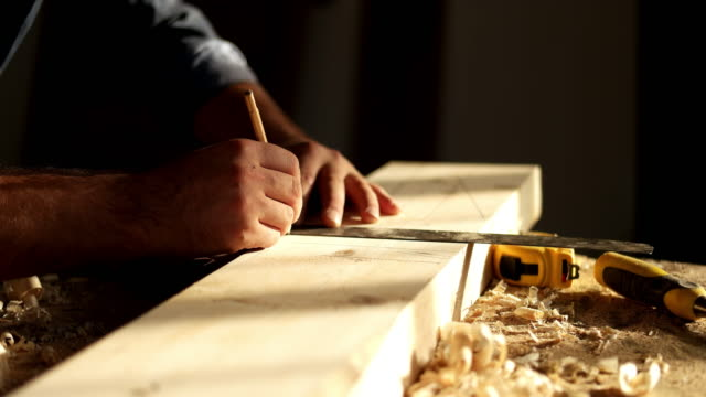 carpenter at work - wood material stock videos & royalty-free footage