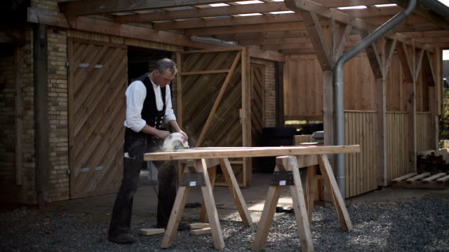 carpenter at work with the portable circular saw - roof beam stock videos & royalty-free footage