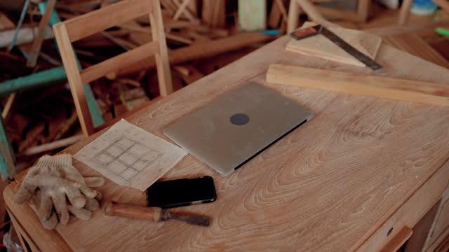 carpenter desk. - wood grain stock videos & royalty-free footage