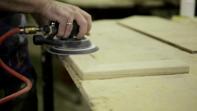 carpenter sanding - grinding stock videos and b-roll footage