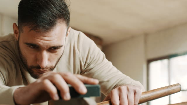carpenter sanding wooden chair - sander stock videos & royalty-free footage