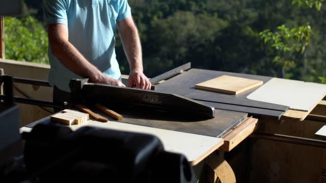 Carpenter using circular saw