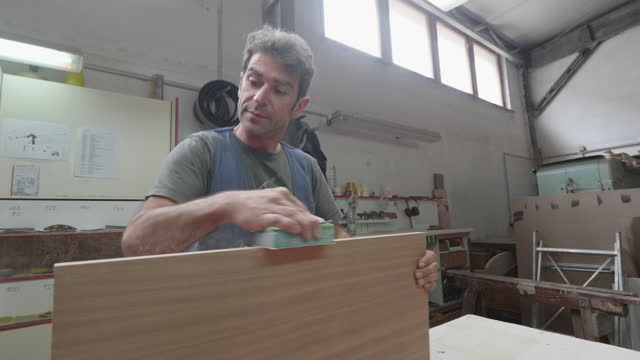 carpenter working in a big carpentry shop - leipzig saxony stock videos & royalty-free footage