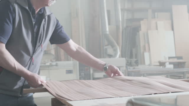 carpenter working in carpentry shop - wood grain stock videos & royalty-free footage