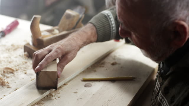 Carpenter working with sandpaper