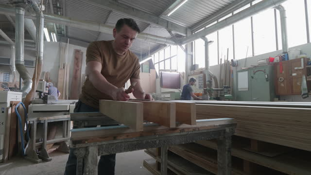 a carpenter works in his carpentry shop - leipzig saxony stock videos & royalty-free footage