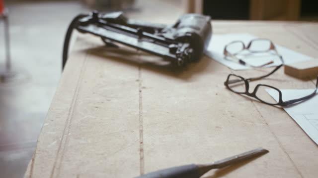 carpentry work desk (slow motion) - carpenteria video stock e b–roll