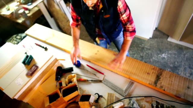 carpentry workshop routine. - table top view stock videos & royalty-free footage