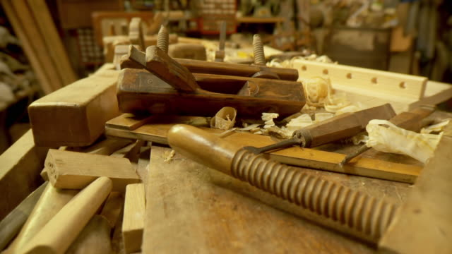 hd: carpentry workshop - chisel stock videos and b-roll footage