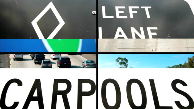 carpool montage - verkehrsschild stock-videos und b-roll-filmmaterial