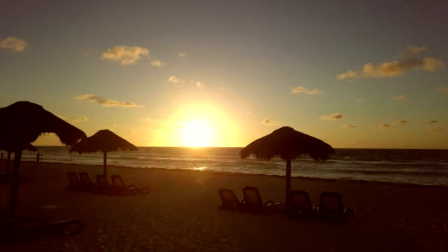 carribean cancun sandy beach sunset in mexico - cancun stock videos & royalty-free footage