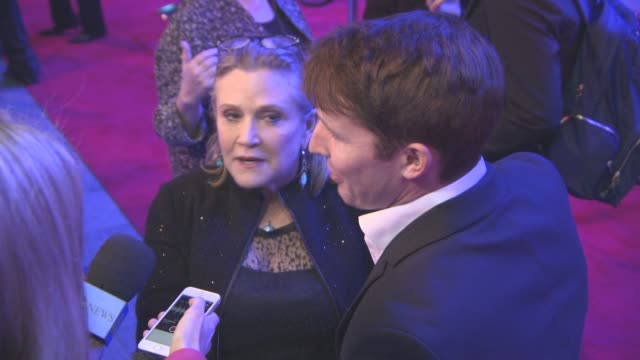 Carrie Fisher James Blunt at 'Star Wars Episode VII The Force Awakens' European Premiere on December 16 2015 in London England